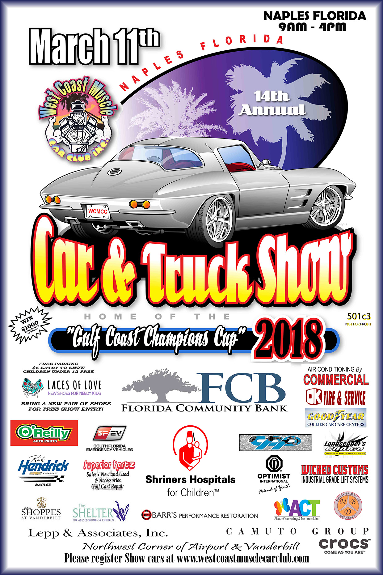 Annual Event West Coast Muscle Car Club - Naples car show 2018